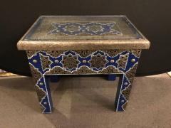 Atlas Showroom Pair of Moroccan Silver Metal Inlaid Blue Rectangle Side Table - 1030718