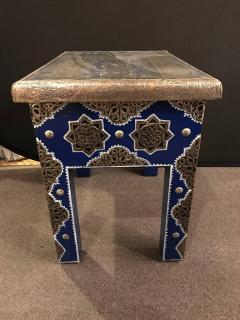 Atlas Showroom Pair of Moroccan Silver Metal Inlaid Blue Rectangle Side Table - 1030721