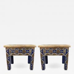 Atlas Showroom Pair of Moroccan Silver Metal Inlaid Blue Rectangle Side Table - 1031175