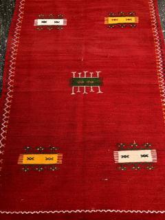 Atlas Showroom Red Berber Tribal Moroccan Medium Wool Rug - 1145068
