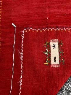 Atlas Showroom Red Berber Tribal Moroccan Medium Wool Rug - 1145072