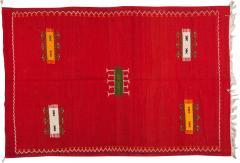 Atlas Showroom Red Berber Tribal Moroccan Medium Wool Rug - 1145650