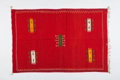Atlas Showroom Red Berber Tribal Moroccan Medium Wool Rug - 1145661