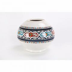 Atlas Showroom Safi Round Moorish White and Blue Vase - 1062556