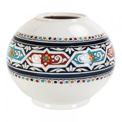 Atlas Showroom Safi Round Moorish White and Blue Vase - 1062557
