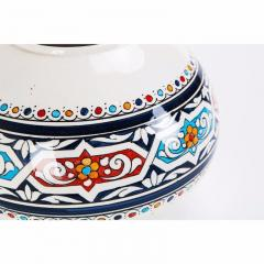 Atlas Showroom Safi Round Moorish White and Blue Vase - 1062558
