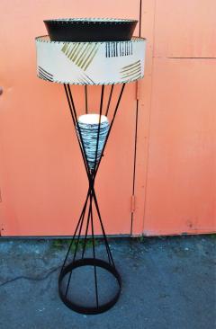 Atomic Wrought Iron Floor Lamp w Ceramic Uplight 2 Tier Fiberglass Shade - 2133683