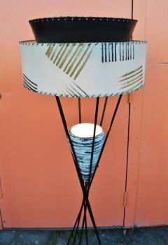 Atomic Wrought Iron Floor Lamp w Ceramic Uplight 2 Tier Fiberglass Shade - 2133720