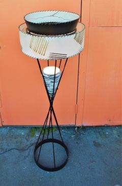 Atomic Wrought Iron Floor Lamp w Ceramic Uplight 2 Tier Fiberglass Shade - 2133727