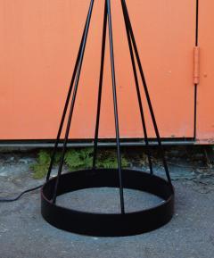 Atomic Wrought Iron Floor Lamp w Ceramic Uplight 2 Tier Fiberglass Shade - 2133731