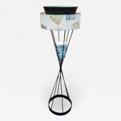 Atomic Wrought Iron Floor Lamp w Ceramic Uplight 2 Tier Fiberglass Shade - 2134460