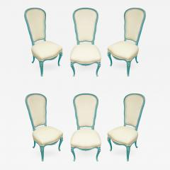Auffray Furniture Set of 6 Chic Louis XV Blue Lacquer Dining Chairs 1970 - 321099