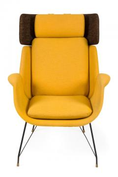 Augusto Bozzi High Back Yellow Lounge Chairs by Augusto Bozzi for Saporiti - 1210447