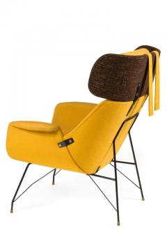 Augusto Bozzi High Back Yellow Lounge Chairs by Augusto Bozzi for Saporiti - 1210449