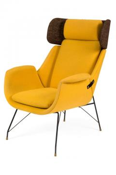 Augusto Bozzi High Back Yellow Lounge Chairs by Augusto Bozzi for Saporiti - 1210450