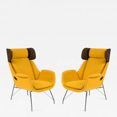Augusto Bozzi High Back Yellow Lounge Chairs by Augusto Bozzi for Saporiti - 1210525