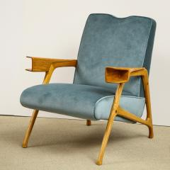 Augusto Romano Armchair and ottoman in mineral blue silk velvet by Augusto Romano for Cassina - 1509752