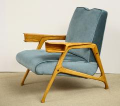 Augusto Romano Armchair and ottoman in mineral blue silk velvet by Augusto Romano for Cassina - 1509753