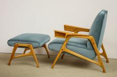 Augusto Romano Armchair and ottoman in mineral blue silk velvet by Augusto Romano for Cassina - 1509754