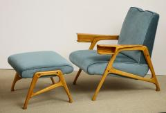 Augusto Romano Armchair and ottoman in mineral blue silk velvet by Augusto Romano for Cassina - 1509755