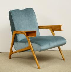Augusto Romano Armchair and ottoman in mineral blue silk velvet by Augusto Romano for Cassina - 1509760
