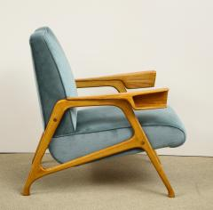 Augusto Romano Armchair and ottoman in mineral blue silk velvet by Augusto Romano for Cassina - 1509762