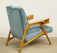 Augusto Romano Armchair and ottoman in mineral blue silk velvet by Augusto Romano for Cassina - 1509763