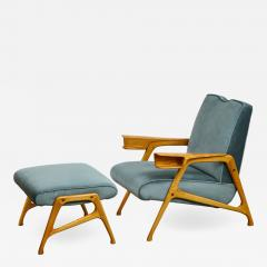 Augusto Romano Armchair and ottoman in mineral blue silk velvet by Augusto Romano for Cassina - 1509886