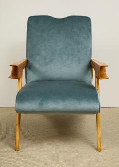 Augusto Romano Pair of Velvet Chairs Ottomans - 609636