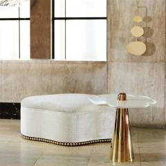 Aur lia Bire FLOWER White Marble Polished brass side table - 1332614