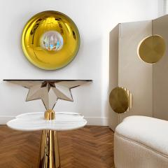 Aur lia Bire FLOWER White Marble Polished brass side table - 1332615