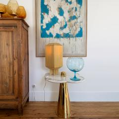 Aur lia Bire FLOWER White Marble Polished brass side table - 1332616