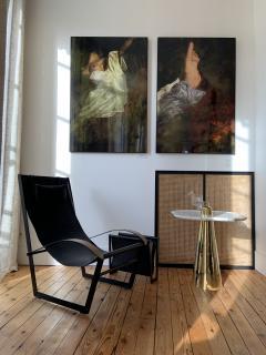 Aur lia Bire FLOWER White Marble Polished brass side table - 1332617