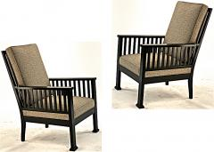 Austrian secession blackened wood pair of refined lounge chair - 1519848