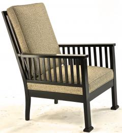Austrian secession blackened wood pair of refined lounge chair - 1519849