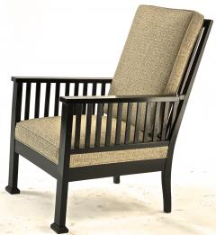 Austrian secession blackened wood pair of refined lounge chair - 1519850