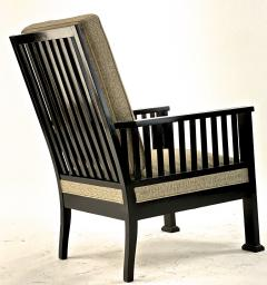 Austrian secession blackened wood pair of refined lounge chair - 1519852