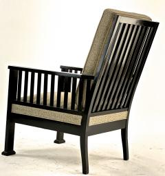 Austrian secession blackened wood pair of refined lounge chair - 1519853