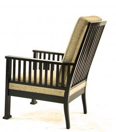 Austrian secession blackened wood pair of refined lounge chair - 1519855
