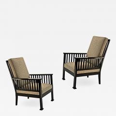 Austrian secession blackened wood pair of refined lounge chair - 1525469