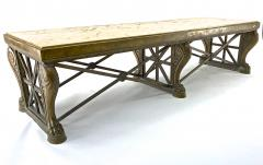 Awesome sturdy and long bronze and marble coffee table - 1511266