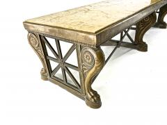 Awesome sturdy and long bronze and marble coffee table - 1511306