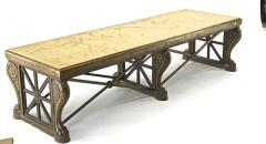 Awesome sturdy and long bronze and marble coffee table - 1511308