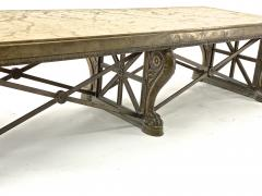Awesome sturdy and long bronze and marble coffee table - 1511309