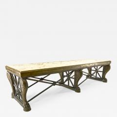 Awesome sturdy and long bronze and marble coffee table - 1512606