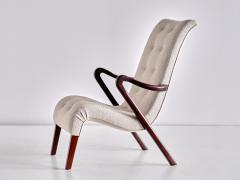 Axel Larsson Axel Larsson Armchair in Boucl and Mahogany Sweden 1940s - 2091168