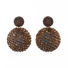 Axel Russmeyer Axel Russmeyer Glass and Crystal Beaded Ball Earrings in Brown Tones - 1584830