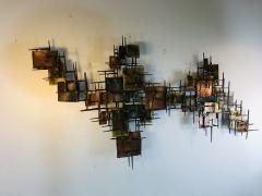B H Kelvin SIGNED MONUMENTAL BRUTALIST MIXED METAL AND NAIL WALL SCULPTURE - 1164599