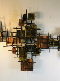 B H Kelvin SIGNED MONUMENTAL BRUTALIST MIXED METAL AND NAIL WALL SCULPTURE - 1164600