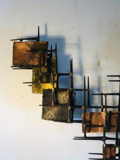 B H Kelvin SIGNED MONUMENTAL BRUTALIST MIXED METAL AND NAIL WALL SCULPTURE - 1164601